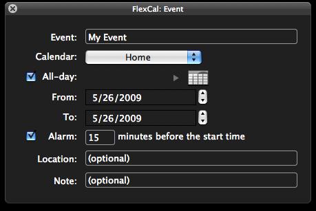 FlexCal événements