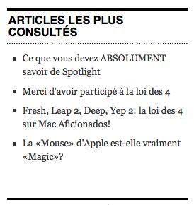 Articles les plus consultés Mac Aficionados™