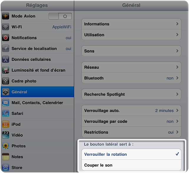 comment regler rotation sur iphone
