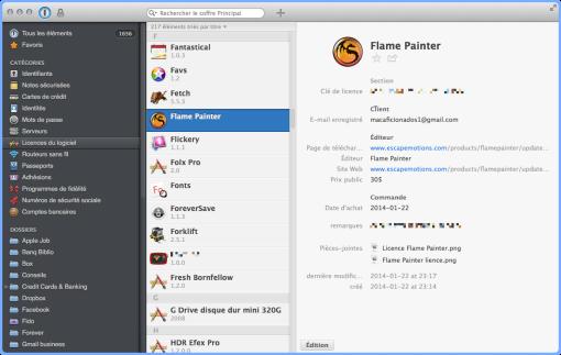 1Password sur Mac Aficionados