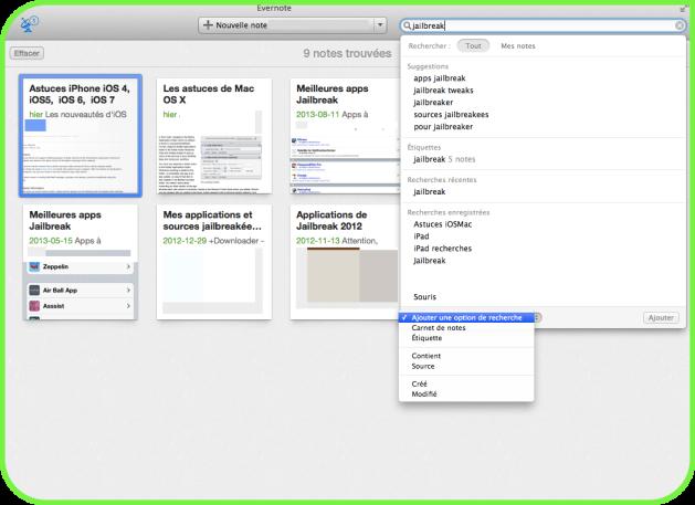 Evernote recherches Mac Aficionados