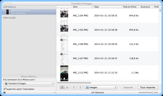 Transfert d'images iOS 7