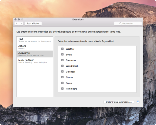 OS X Yosemite desactiver widgets