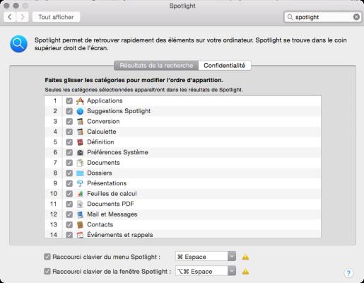 Spotlight desactiver suggestions